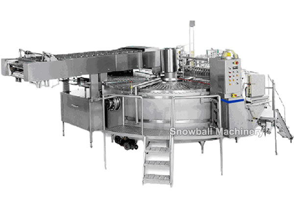 Rotary moulded stick ice cream machine