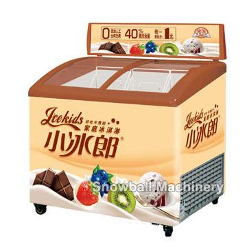 Gelato Display Showcase Freezer With Light Box Snowballmachinery