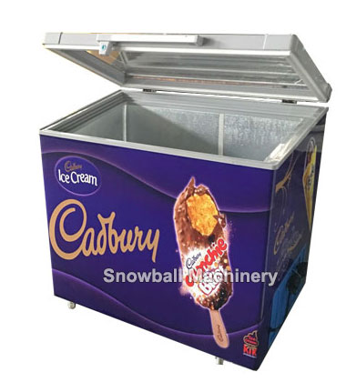 Ice cream freezer with hinged glass door