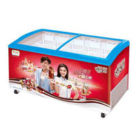 curved glass ice cream showcase refrigerator