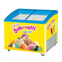 Ice cream sisplay freezer with curved glass sliding door SD325K