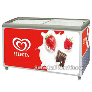 High quality cheap price flat glass showcase freezer