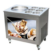 Ice cream rolls machine with 6 containers
